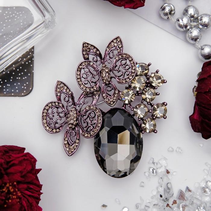 """Брошь """"Цветы"""" орхидеи со стеклом, цветная в сером металле"""
