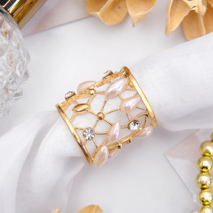 """Муфта для платка """"Роса"""", цвет белый в золоте"""