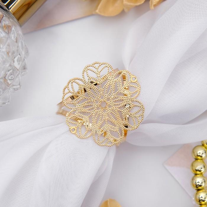 """Кольцо для платка """"Цветок"""" ажур, цвет золота"""
