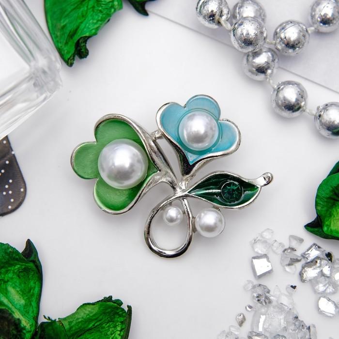 """Брошь """"Цветок"""" колокольчики, цветная в серебре"""