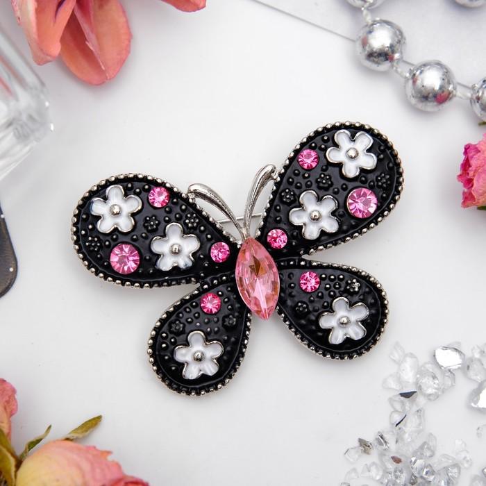 """Брошь """"Бабочка"""" цветочная, цвет черно-розовый в серебре"""