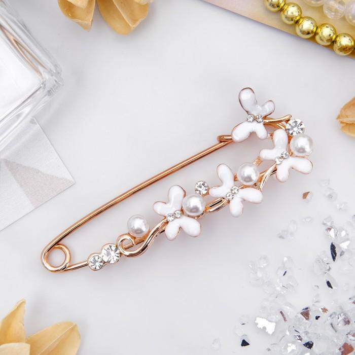 """Булавка """"Цветы ромашки"""", 7,5см, цвет белый в розовом золоте"""