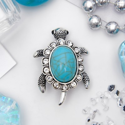 """Brooch """"Turtle"""" armor, a turquoise, blue color in nielloed silver"""