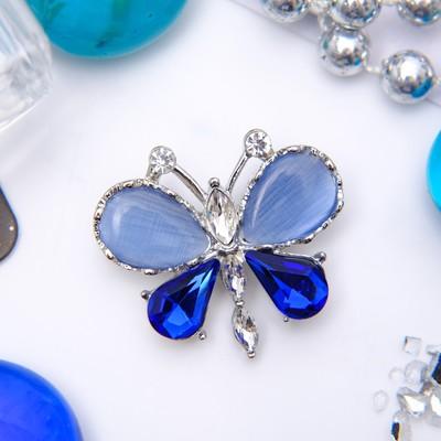 """Брошь """"Бабочка"""" летняя, синий в серебре"""