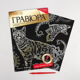 "Engraving ""Bengal cat"" with metal effect gold A4 + chisel"