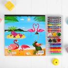 """Раскраска с наклейками """"Фламинго"""" 4 фломастера, 4 карандаша, 6 цветов краски, кисть"""