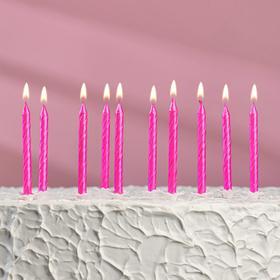 """Свечи в торт """"Красочные"""", 6 см, металлик розовый, набор 10 шт"""