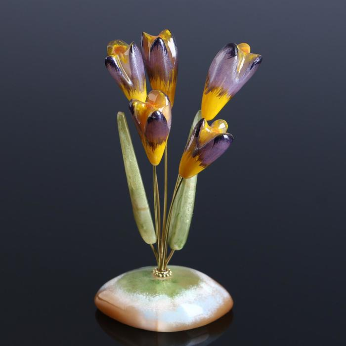 Сувенир «Крокусы», 5 цветков, 13×10 см, селенит