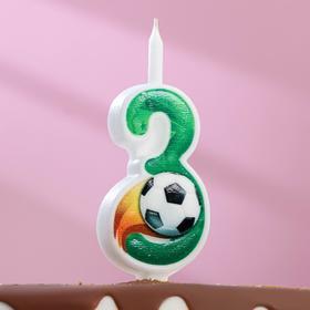 """Свеча для торта цифра """"Футбольная"""" """"3"""" зелёная"""