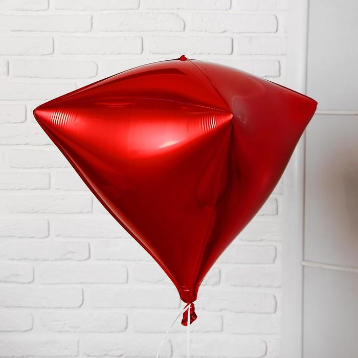 """Шар фольгированный 27"""" 3D, индивидуальная упаковка, цвет красный"""