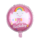 """Foil balloon 16"""" """"happy birthday!"""", rainbow in the clouds, the color pink"""