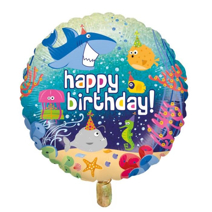 """Шар фольгированный 16"""" """"С днём рождения!"""", подводный мир - фото 308473527"""