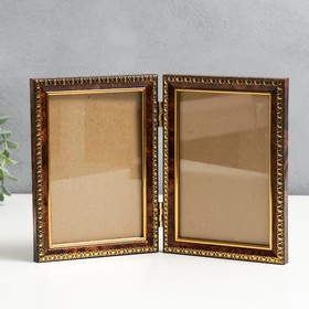 Plastic double photo frame 10x15 cm brown