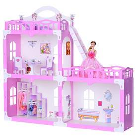 Домик для кукол «Дом Анна» с мебелью, бело-розовый