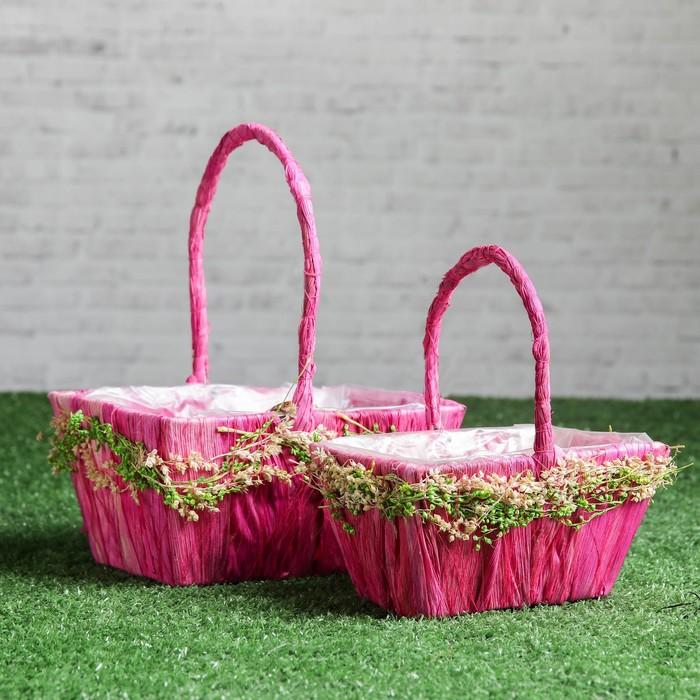 Набор корзин «Соцветие», 2 шт, 18×14×9/22 см, 15×10×8/17 см, сизаль, сухоцветы