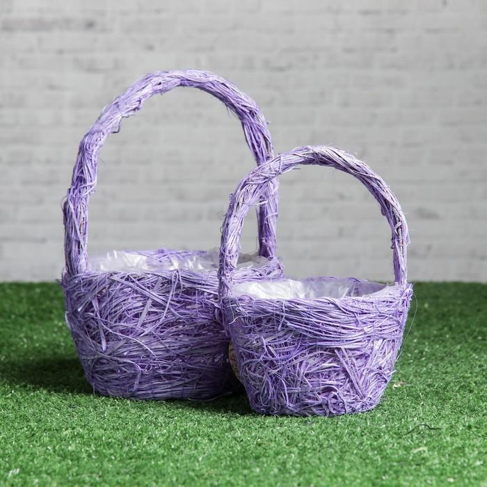 Набор корзин «Виолетта», 2 шт, 15×9/22 см, 12×8/17 см, ротанг, сизаль
