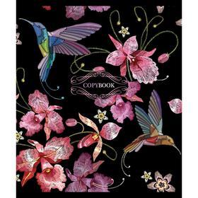 Тетрадь 48 листов в клетку «Японская вышивка», мелованный картон, УФ-лак, конгрев, тиснение фольгой, МИКС