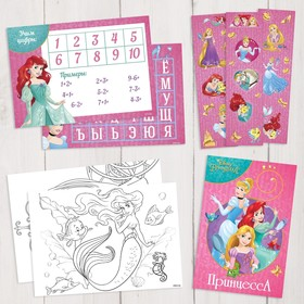 Подарочный творческий набор: наклейки, блокнот, раскраски, обучающие карточки, Принцессы