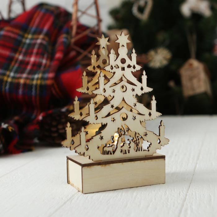 """Декор с подсветкой """"Праздничная ёлочка со свечами"""""""