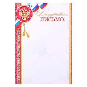 """Благодарственное письмо """"Универсальное"""" символика РФ, красная рамка"""