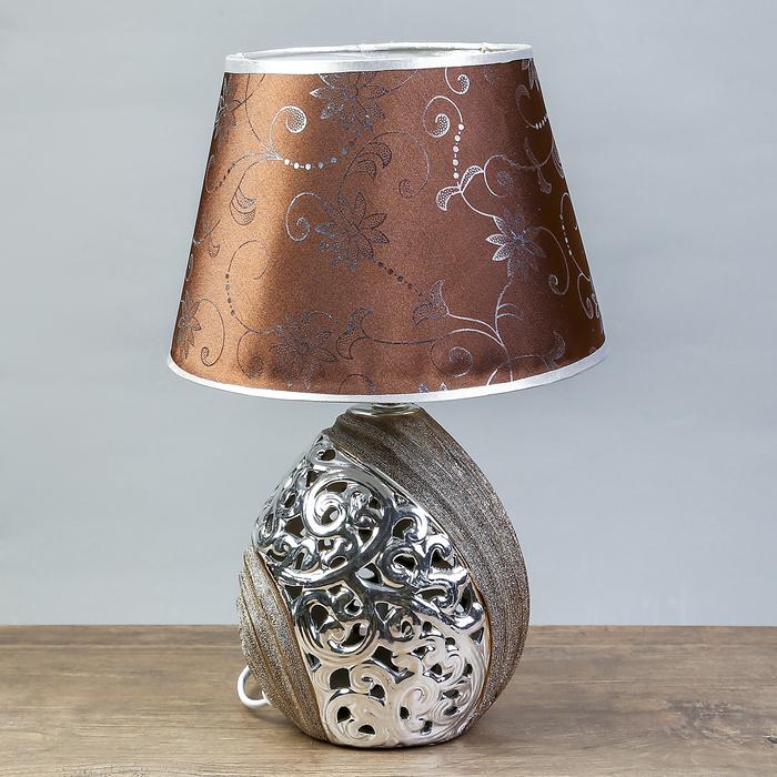 """Настольная лампа """"Глория"""" 1х30Вт E14 золото-хром 19х19х35см."""