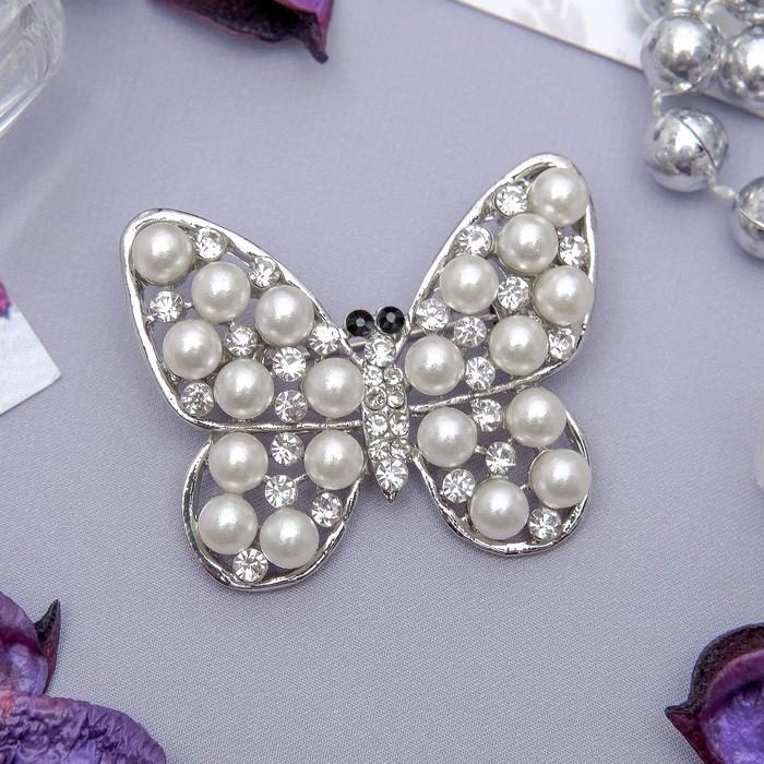 """Брошь """"Бабочка"""" в бусинках, цвет белый в серебре"""