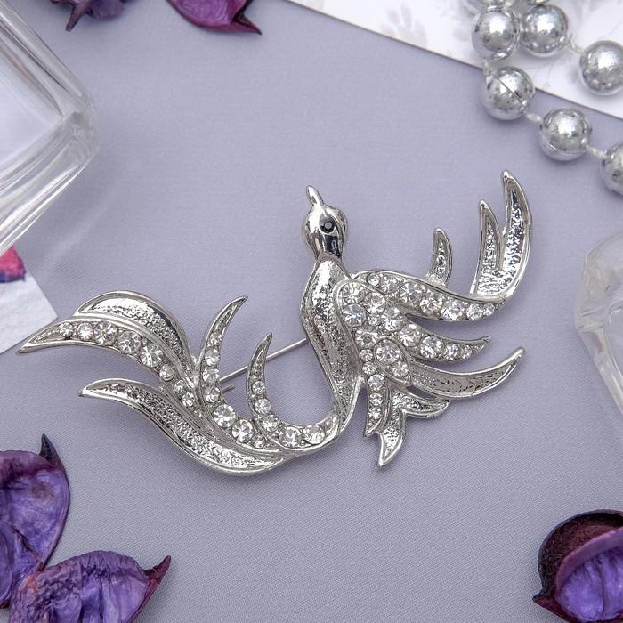 """Брошь """"Птица Феникс"""", цвет белый в серебре"""