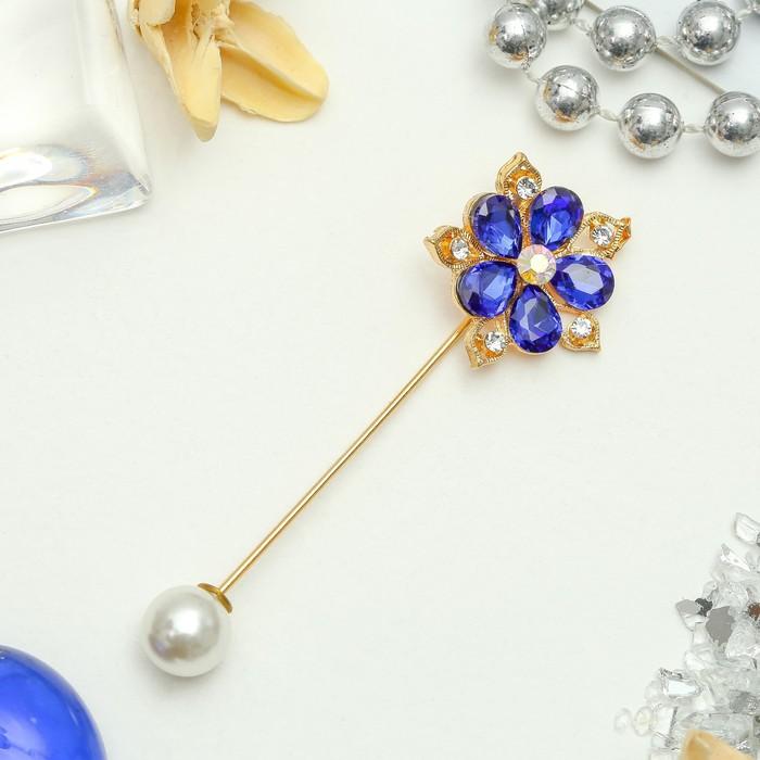 """Булавка """"Цветок"""" медуница, 8см, цвет сине-белый в золоте"""