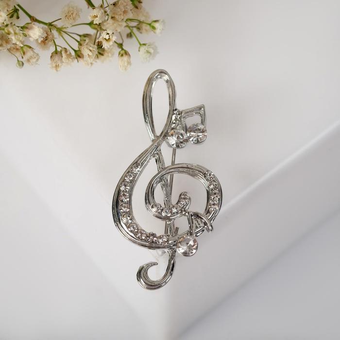 """Брошь """"Скрипичный ключ"""" и нотки, цвет белый в серебре"""