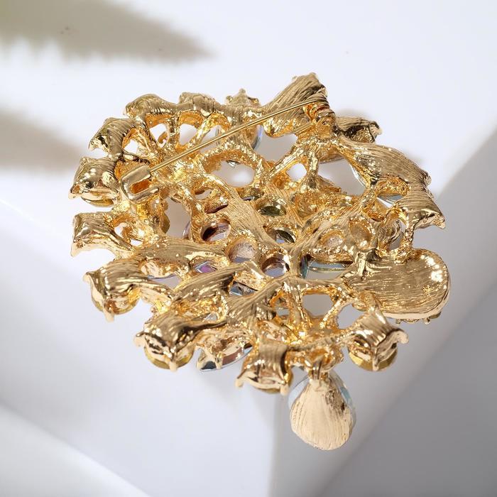 """Брошь """"Императрица"""" сияние, цвет радужный в золоте - фото 234154168"""