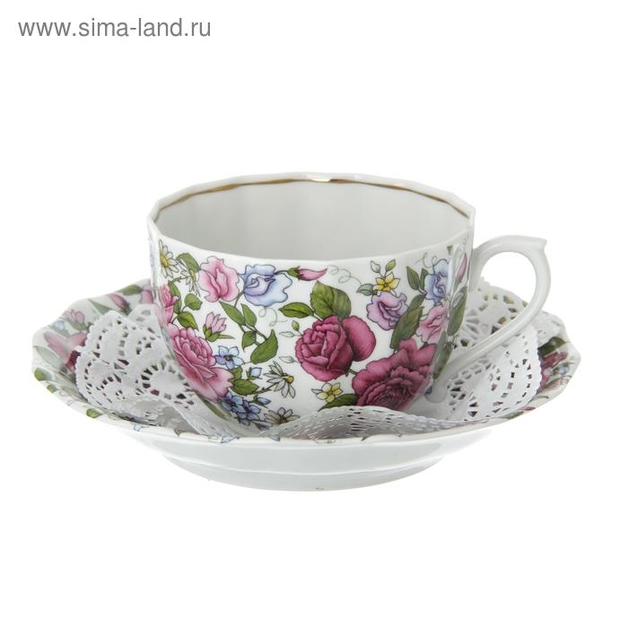 """Набор чайный """"Роза с ромашкой"""", 2 предмета: чашка 200 мл, блюдце"""