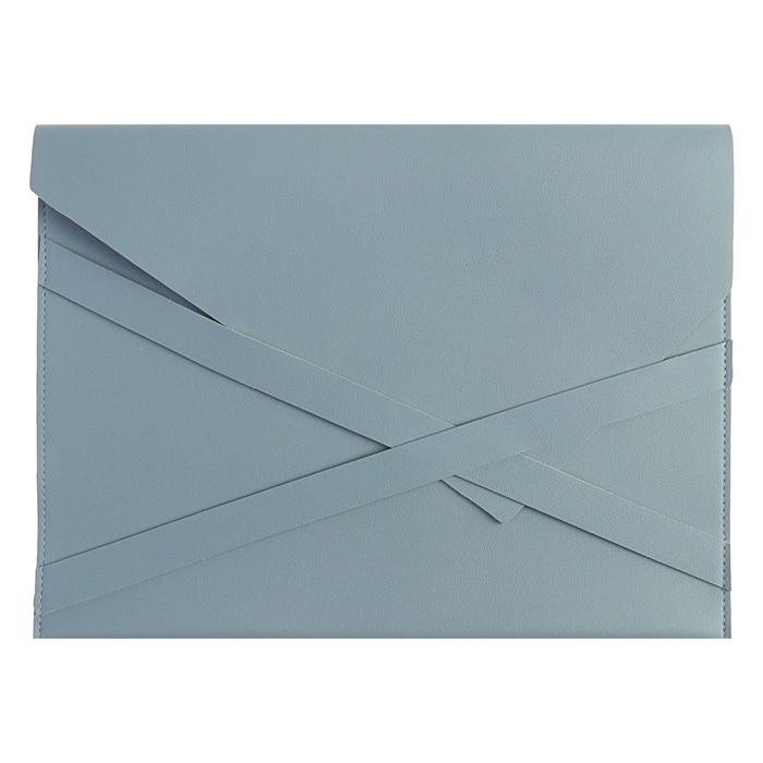 Пaпка деловая искусственная кожа, плоская, 330х240 мм, «Наппа Голубой и серебряный», крестообразная застёжка
