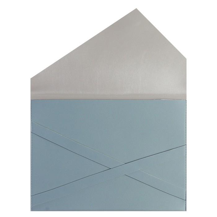 Пaпка деловая искусственная кожа, плоская, 330х240 мм, «Наппа Голубой и серебряный», крестообразная застёжка - фото 408708266
