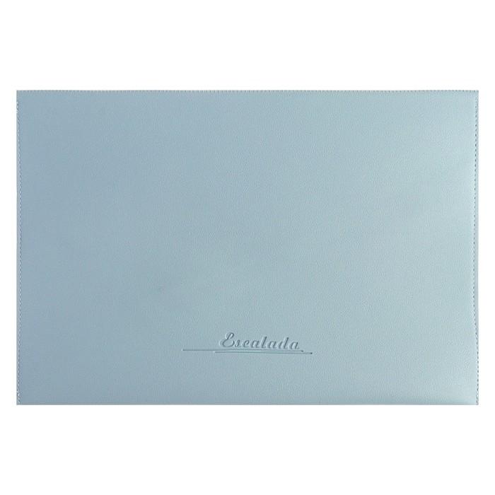 Пaпка деловая искусственная кожа, плоская, 330х240 мм, «Наппа Голубой и серебряный», крестообразная застёжка - фото 408708269