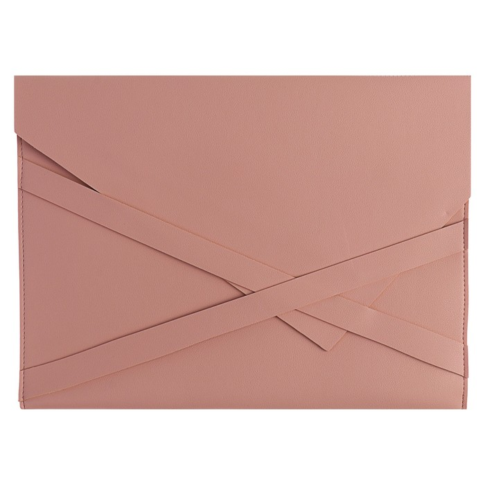 Пaпка деловая, искусственная кожа, плоская, 330х240 мм, «Наппа Розовый и серебряный», крестообразная застёжка - фото 448831044