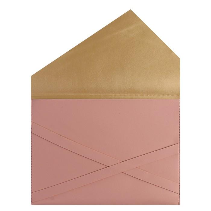 Пaпка деловая, искусственная кожа, плоская, 330х240 мм, «Наппа Розовый и серебряный», крестообразная застёжка - фото 448831045