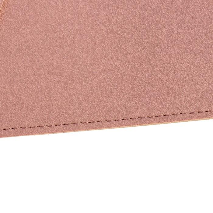 Пaпка деловая, искусственная кожа, плоская, 330х240 мм, «Наппа Розовый и серебряный», крестообразная застёжка - фото 448831047