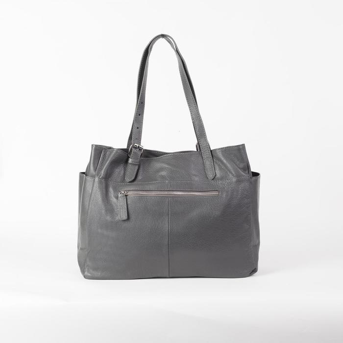 Сумка женская, отдел с перегородкой на молнии, 3 наружных кармана, длинный ремень, цвет серый