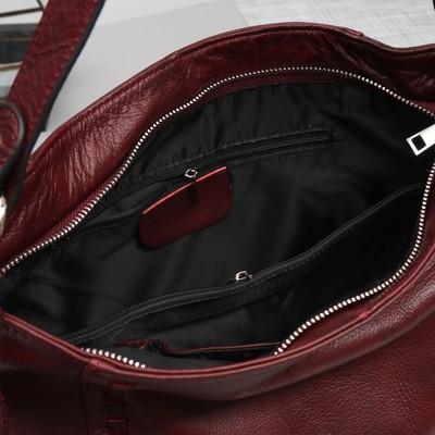Сумка женская, отдел с перегородкой на молнии, 3 наружных кармана, длинный ремень, цвет бордовый