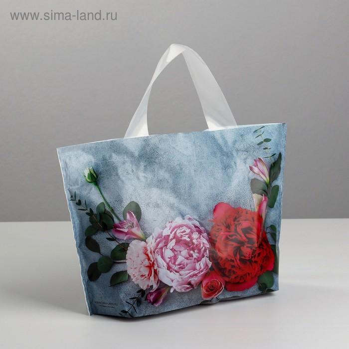 Пакет полиэтиленовый с петлевой ручкой «Цветы», 26 × 17 см
