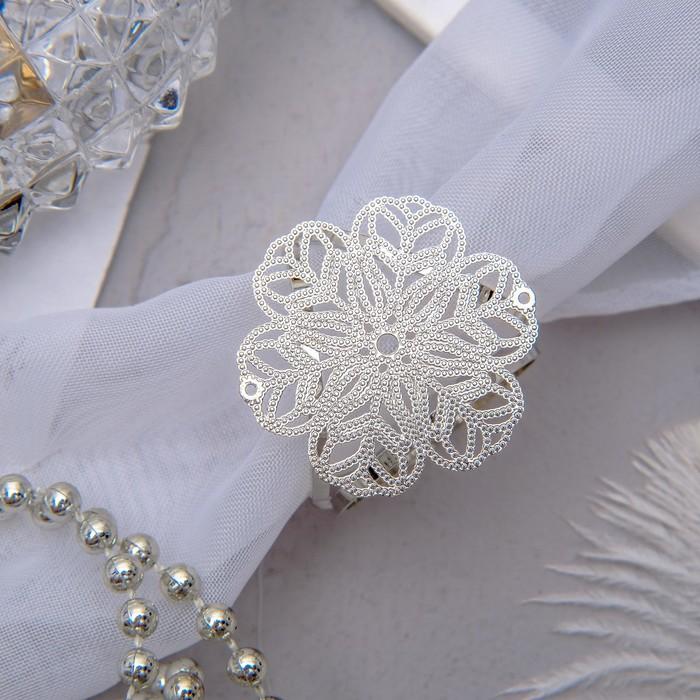 "Кольцо для платка ""Цветок"" ажур, цвет серебра"