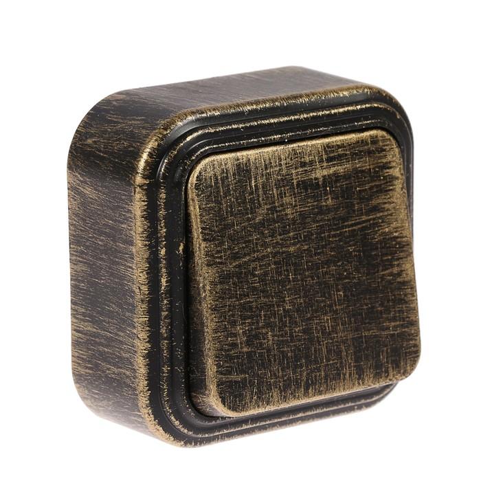 """Выключатель """"Элект"""" VA 16-131-ЧБ, 6 А, 1 клавиша, наружный, цвет черный под бронзу"""