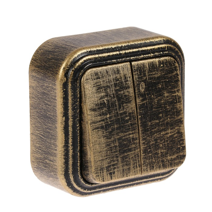 """Выключатель """"Элект"""" VA 56-232-ЧБ, 2 клавиши, наружный, 6А, цвет черный под бронзу"""