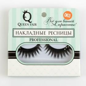 False eyelashes, with glue, 3 rhinestones, black/silver