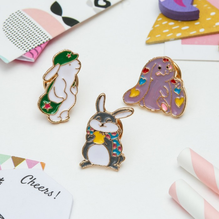 """Набор значков """"Кролики милашки"""" цветной в золоте - фото 418276775"""