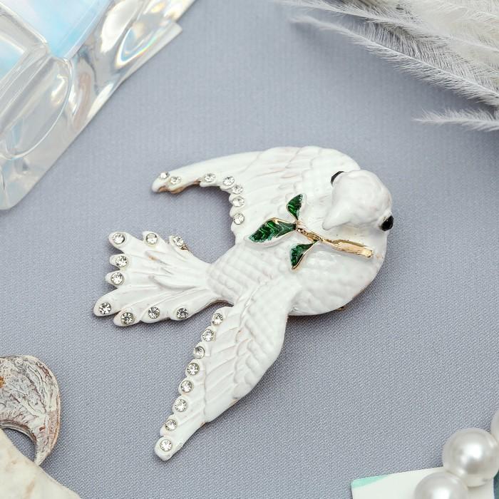 """Брошь """"Голубь мира""""рождественский, цвет белый в золоте - фото 303907124"""