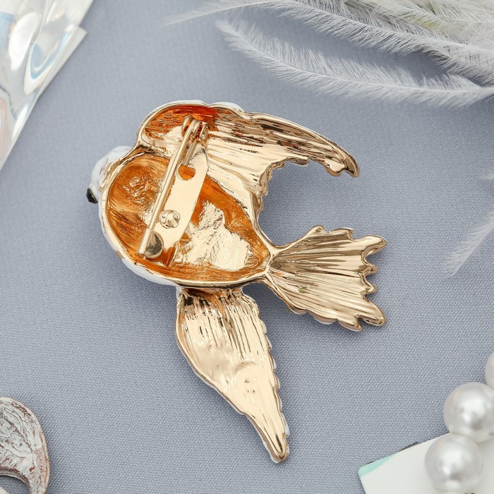 """Брошь """"Голубь мира""""рождественский, цвет белый в золоте - фото 303907125"""