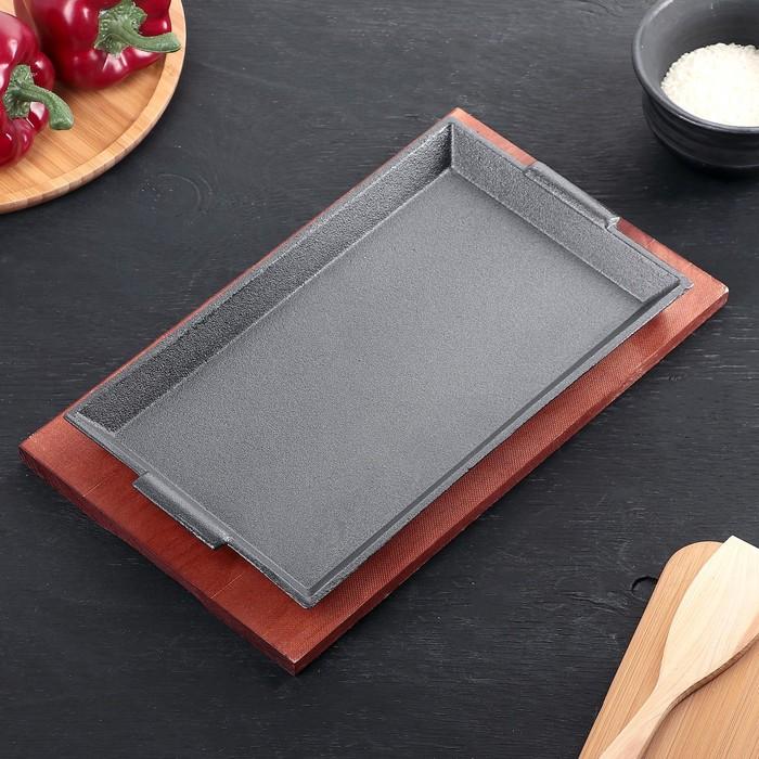 """Сковорода 27,5х16,5х3 см """"Прямоугольник"""", на деревянной подставке - фото 226597103"""