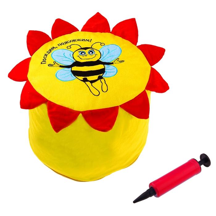 """Надувной пуфик """"Посидим, Пожужжим"""", с насосом, цвет желтый"""
