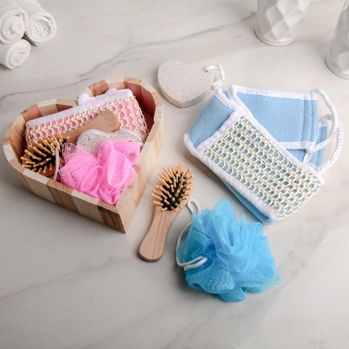 Набор банный, 4 предмета: 2 мочалки, пемза, расчёска, цвет МИКС